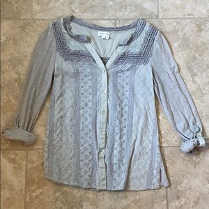 Anthropologie Meadow Rue embroidered button down